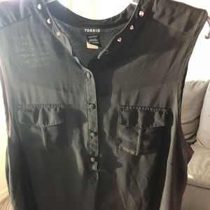 EEUC Torrid Spiked Collar Black Sleeveless Blouse
